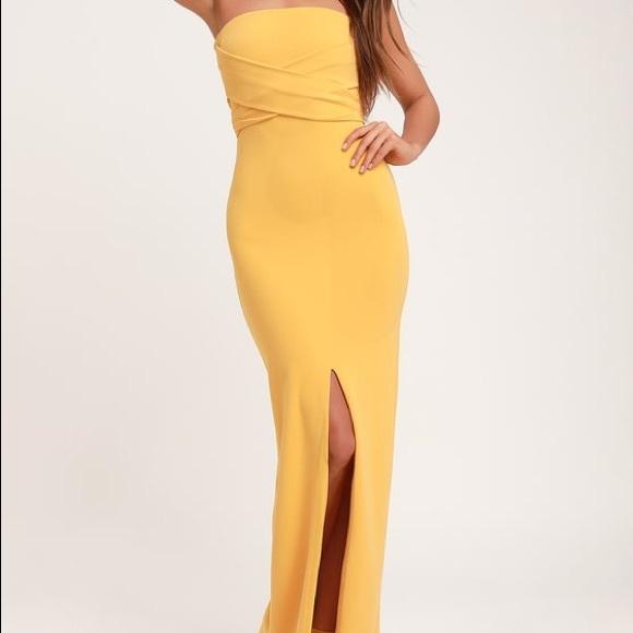 Golden Yellow Strapless Maxi Dress